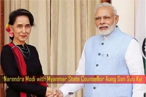 Narendra Modi with Myanmar State Counsellor Aung San Suu Kyi