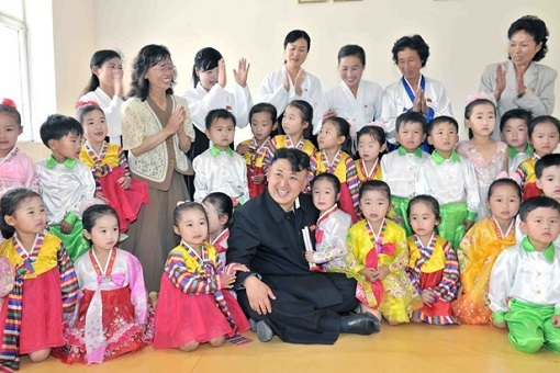 Propaganda - North Korea Kim Jong-un Visits Children