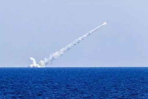 Russian Submarine Launches Kalibr Cruise Missile - Submerged