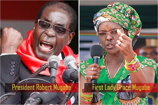 Zimbabwe President Robert Mugabe and First Lady Grace Mugabe