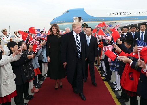 President Donald Trump and Melania Visit China - Greeting on Tarmac