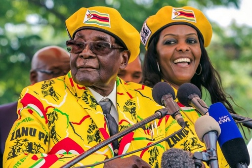 Zimbabwe President Robert Mugabe and Wife Gucci Grace
