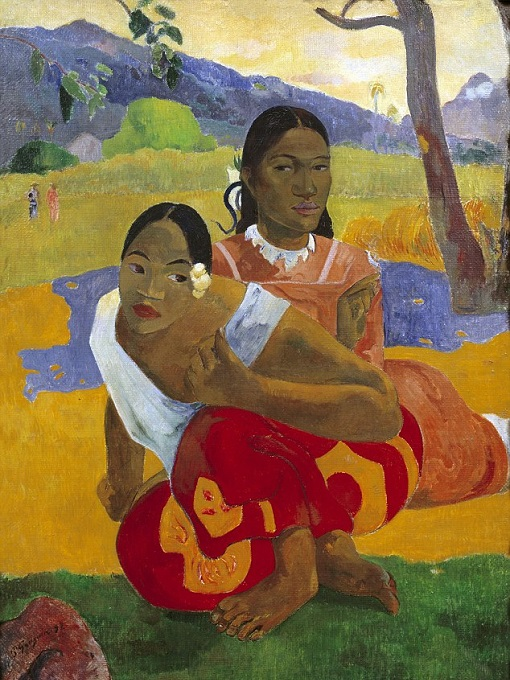 Paul Gauguin Tahitian scene - When Will You Marry - Painting