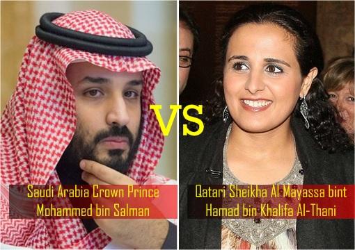 Saudi Arabia Crown Prince Mohammed bin Salman vs Qatari Sheikha Al Mayassa bint Hamad bin Khalifa Al-Thani