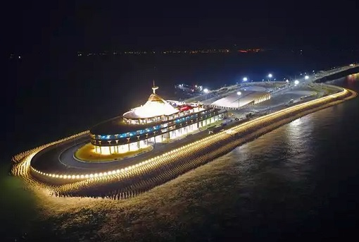 China and World Longest Sea Bridge - Artificial Island Night View