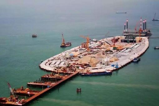 China and World Longest Sea Bridge - Construction of Artificial Island