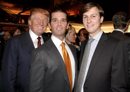 Donald Trump with Son and Son-in-Law Jared Kushner