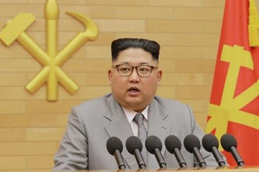 North Korea Kim Jong-un - Wearing Gray Suit Giving Speech