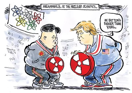 Nuclear Olympic - Trump Button Bigger Than Kim
