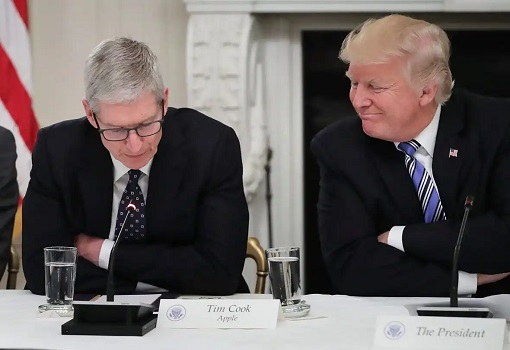 President Donald Trump meets Apple CEO Tim Cook