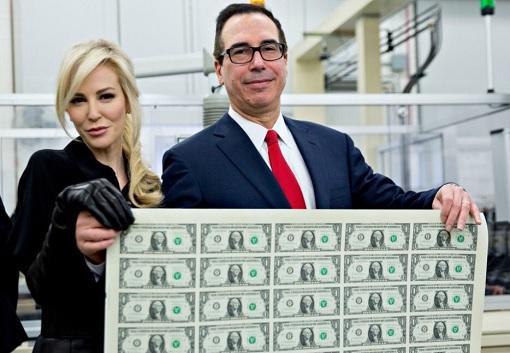 Steven Mnuchin with a Sheet of One Dollar Bills