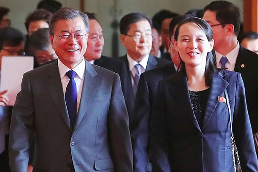 South Korean President Moon Jae-in with North Korean Kim Yo-jong - Walking Together