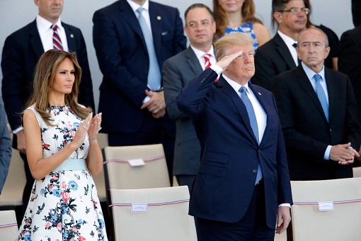 US President Donald Trump with First Lady Melania - Bastille Day Military Parade