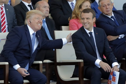 US President Donald Trump with French President Emmanuel Macron - Bastille Day Celebration