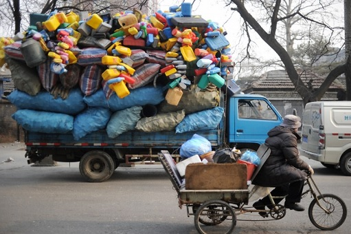 China Dumping Ground of Garbage - Lorry Transporting Garbage