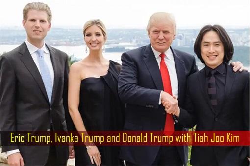 Eric Trump, Ivanka Trump and Donald Trump with Tiah Joo Kim