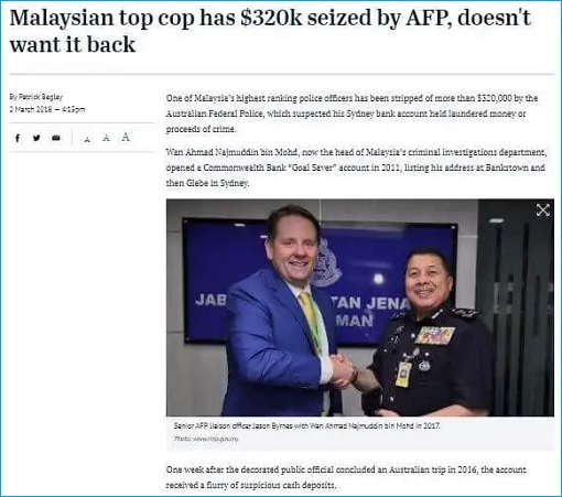 Sydney Morning Herald - Malaysian top cop has 320K seized by Australian Federal Police