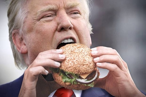 Donald Trump Eats McDonalds Hamburger