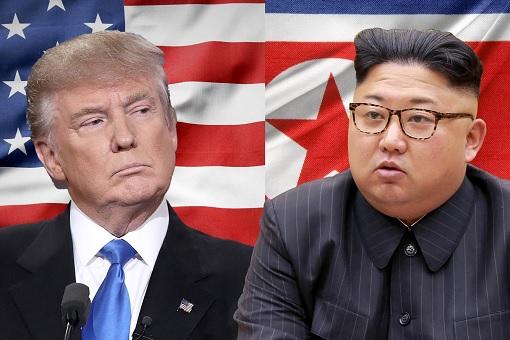 Donald Trump Meets Kim Jong-un - Flags