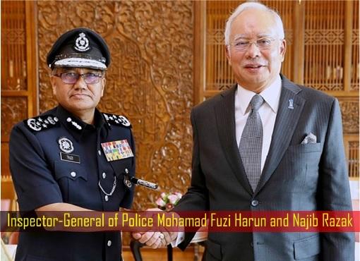 Inspector-General of Police Mohamad Fuzi Harun and Najib Razak