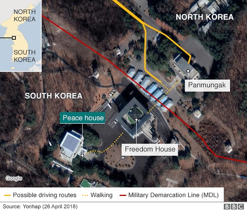 North Korean Kim Jong-un Crosses Into South Korea - Map