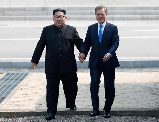 North Korean Kim Jong-un Meets South Korean President Moon Jae-in - Holding Hands