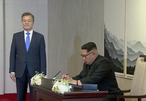 North Korean Kim Jong-un Meets South Korean President Moon Jae-in - Signing Guest Book
