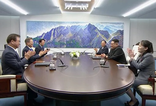 North Korean Kim Jong-un Meets South Korean President Moon Jae-in - Summit Private Meeting