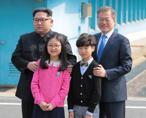 North Korean Kim Jong-un Meets South Korean President Moon Jae-in - with students