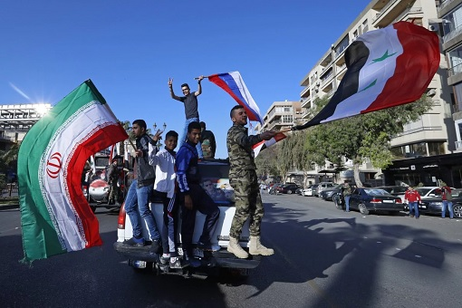 Syria Intercept US-led Missile Strike - Syrians Celebrating with Flags