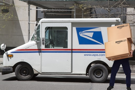 US Postal Service Delivering Amazon Package