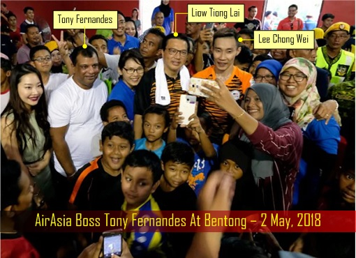 AirAsia Tony Fernandes At Bentong - Support MCA Liow Tiong Lai and Lee Chong Wei
