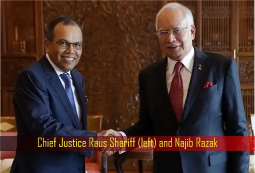 Chief Justice Raus Shariff (left) and Najib Razak