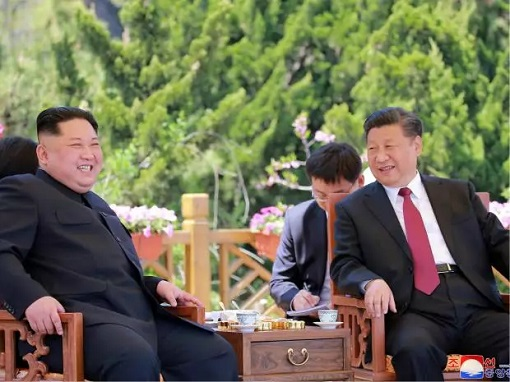 China President Xi Jinping Meets North Korea Kim Jong-un - At Garden Laughing