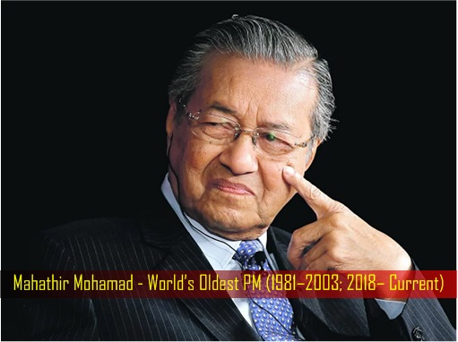 Mahathir Mohamad - World's Oldest PM - 1981 to 2003 and 2018 to Current
