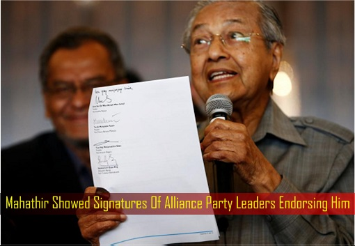 Mahathir Showed Signatures Of Alliance Party Leaders Endorsing Him