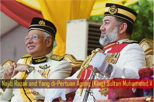 Najib Razak and Yang di-Pertuan Agong - King - Sultan Muhammad V