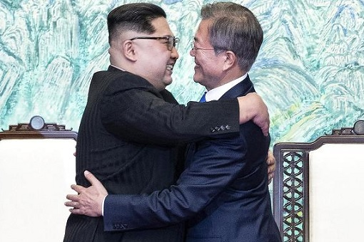 North Korean Kim Jong-un Meets South Korean President Moon Jae-in - Hugging