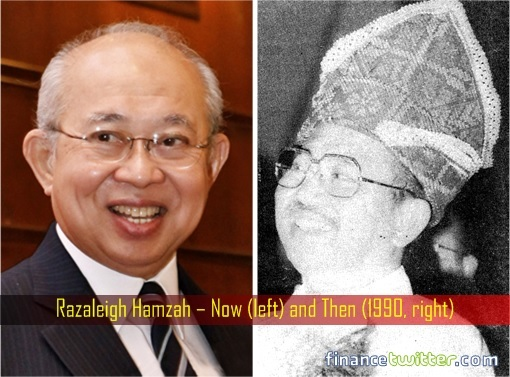 Razaleigh Hamzah - Now and 1990 - Wears Siagah - a headgear of the Kadazan