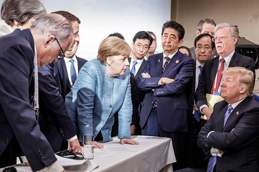 2018 G7 Summit - Photo Of Chaos Mood - Trump Arms Folded