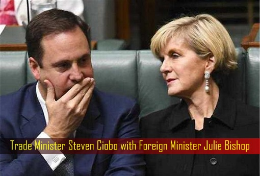 Australian Trade Minister Steven Ciobo with Foreign Minister Julie Bishop