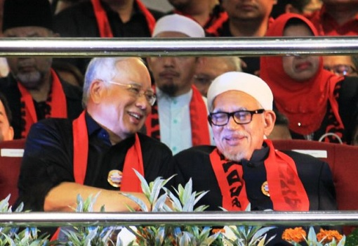 Najib Razak with Hadi Awang - Laughing