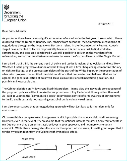 Brexit Secretary David Davis Resignation Letter - Theresa May