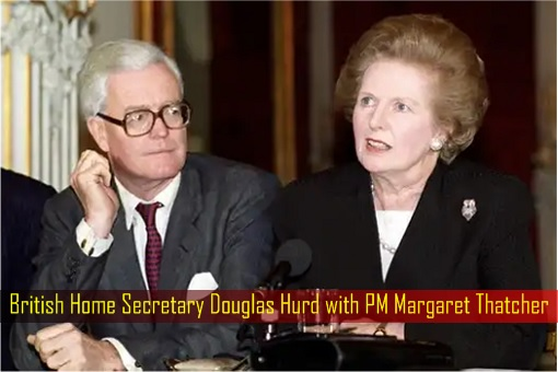 British Home Secretary Douglas Hurd with PM Margaret Thatcher