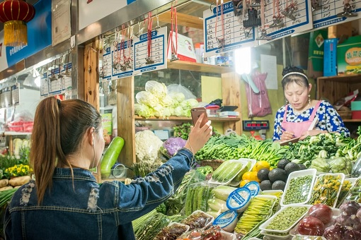 Buy Vegetables In China Using Smartphone - Alipay