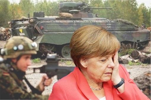 German Soldiers Troops Use Broomsticks Painted Black As Guns - Angela Merkel