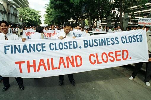 1997 Asian Financial Crisis - Demonstrators Thailand Closed