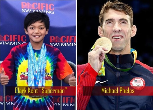 Clark Kent Superman and Michael Phelps - Swimming New Record