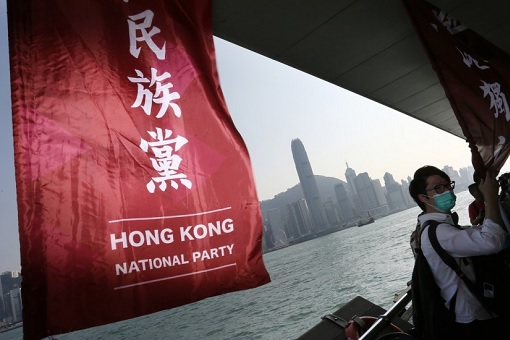Hong Kong National Party Banner - Demonstrator