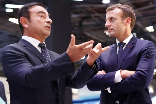 French President Emmanuel Macron with Carlos Ghosn